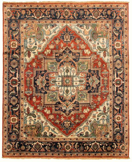 Bordered  Traditional Red Area rug 6x9 Indian Hand-knotted 331917
