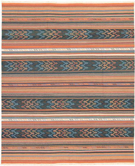 Bohemian  Transitional Blue Area rug 6x9 Turkish Flat-weave 335873