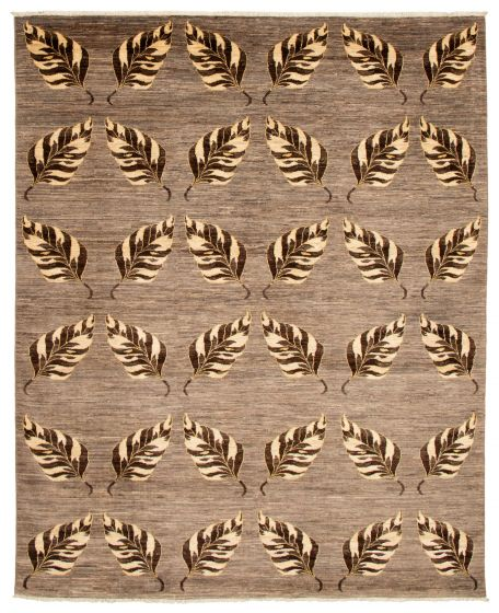 Casual  Transitional Brown Area rug 6x9 Pakistani Hand-knotted 338768