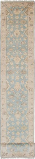 Floral  Traditional Blue Runner rug 20-ft-runner Indian Hand-knotted 219857