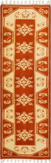 Bordered  Traditional Brown Runner rug 9-ft-runner Turkish Hand-knotted 293647