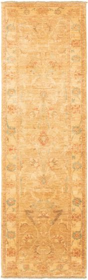 Bordered  Traditional Brown Runner rug 10-ft-runner Afghan Hand-knotted 318415