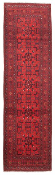 Bordered  Traditional Red Runner rug 10-ft-runner Afghan Hand-knotted 342341