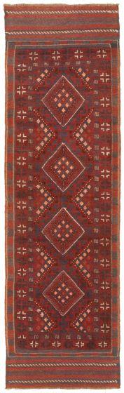 Bordered  Tribal Red Runner rug 8-ft-runner Afghan Hand-knotted 342490