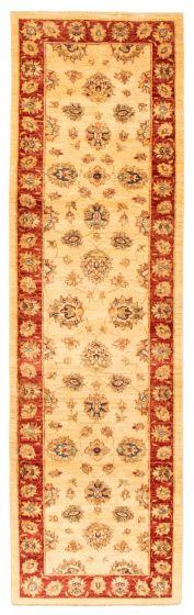 Bordered  Traditional Ivory Runner rug 9-ft-runner Afghan Hand-knotted 346201