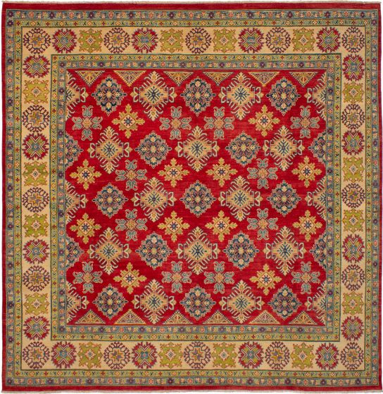 Bordered  Traditional Red Area rug Square Afghan Hand-knotted 272407