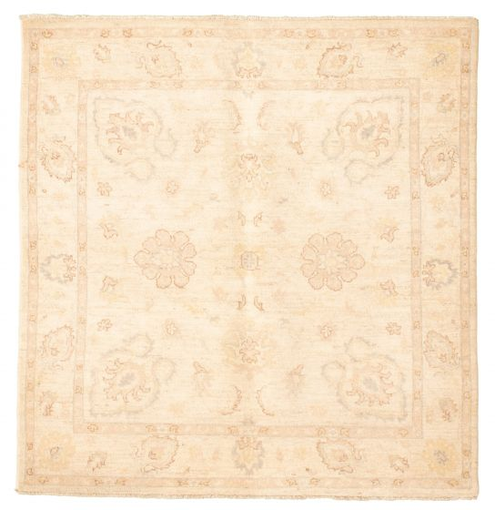 Bordered  Traditional Ivory Area rug Square Afghan Hand-knotted 331471