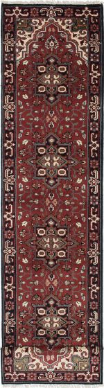 Geometric  Traditional Red Runner rug 16-ft-runner Indian Hand-knotted 219461