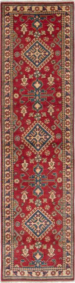 Geometric  Traditional Red Runner rug 10-ft-runner Afghan Hand-knotted 221238