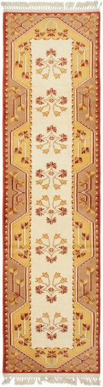 Bordered  Traditional Ivory Runner rug 10-ft-runner Turkish Hand-knotted 293707
