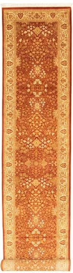 Bordered  Traditional Brown Runner rug 19-ft-runner Pakistani Hand-knotted 330318