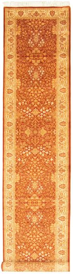 Bordered  Traditional Brown Runner rug 16-ft-runner Pakistani Hand-knotted 330320