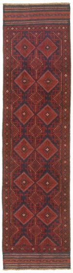 Bordered  Tribal Red Runner rug 8-ft-runner Afghan Hand-knotted 342517