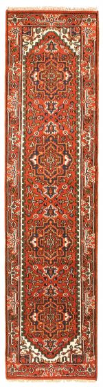 Bordered  Traditional Brown Runner rug 10-ft-runner Indian Hand-knotted 344532