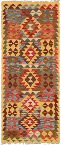 Bordered  Geometric Red Runner rug 6-ft-runner Turkish Flat-weave 297537