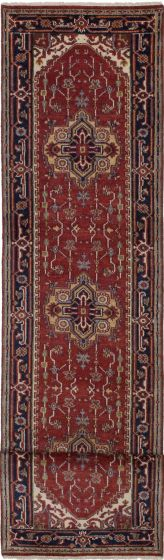 Floral  Traditional Red Runner rug 16-ft-runner Indian Hand-knotted 208354