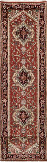 Traditional Orange Runner rug 16-ft-runner Indian Hand-knotted 208439