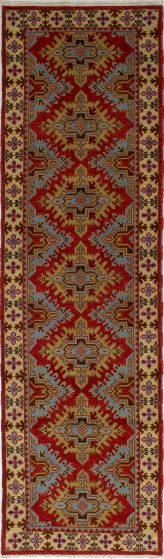 Bordered  Tribal Red Runner rug 10-ft-runner Indian Hand-knotted 233414