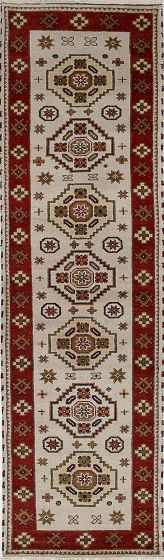 Traditional Ivory Runner rug 10-ft-runner Indian Hand-knotted 233460