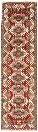 Bordered  Traditional Red Runner rug 10-ft-runner Indian Hand-knotted 314326