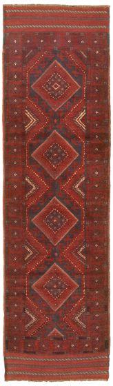 Bordered  Tribal Red Runner rug 8-ft-runner Afghan Hand-knotted 342484