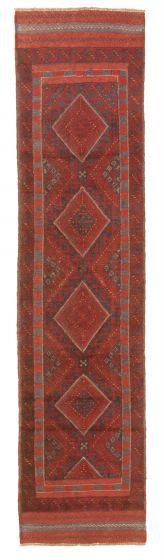 Bordered  Tribal Red Runner rug 9-ft-runner Afghan Hand-knotted 343062