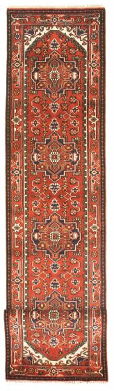 Bordered  Traditional Red Runner rug 14-ft-runner Indian Hand-knotted 344571