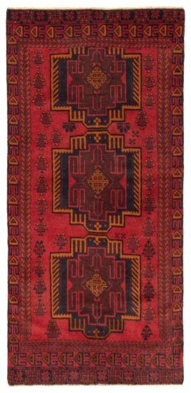 Geometric  Tribal Red Runner rug 7-ft-runner Afghan Hand-knotted 367534