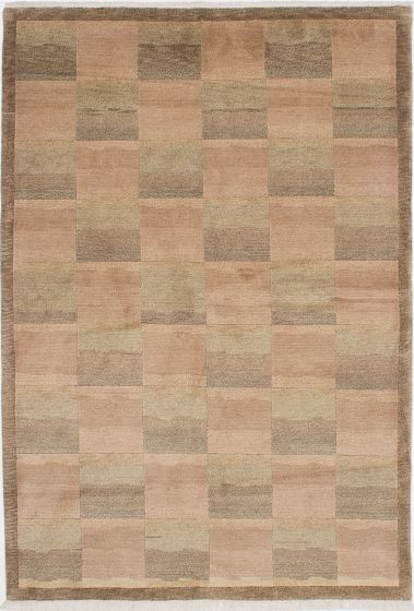 Transitional Ivory Area rug 5x8 Nepal Hand-knotted 224052