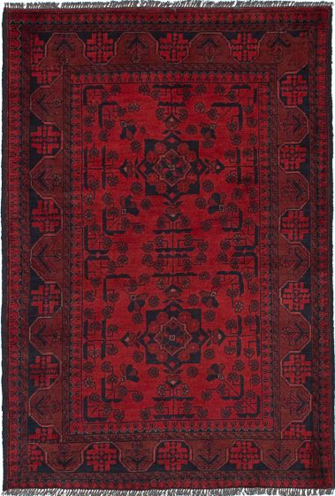 Geometric  Tribal Red Area rug 3x5 Afghan Hand-knotted 235904