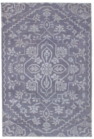 Bohemian  Transitional Grey Area rug 4x6 Indian Hand-knotted 241460