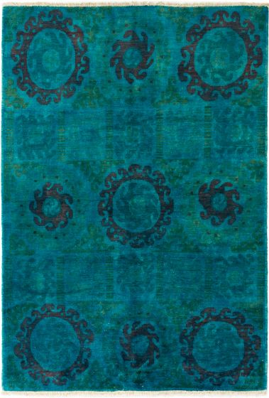 Overdyed  Transitional Green Area rug 5x8 Indian Hand-knotted 280323