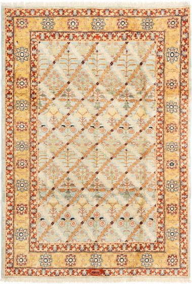 Bordered  Traditional Orange Area rug 5x8 Afghan Hand-knotted 280499