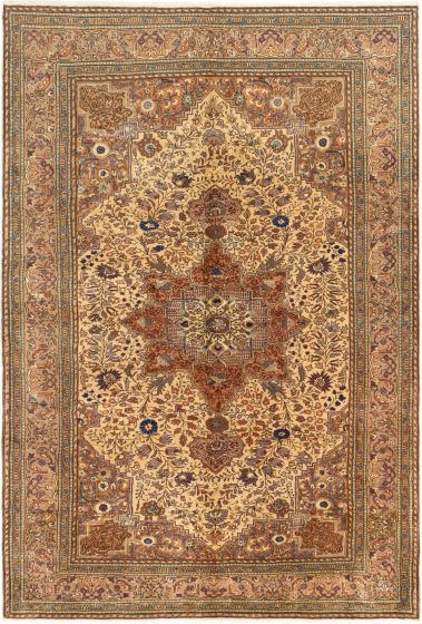 Bordered  Traditional Ivory Area rug 6x9 Turkish Hand-knotted 280920
