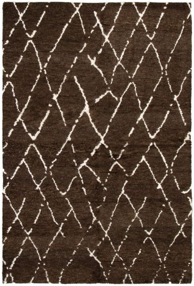 Casual  Transitional Brown Area rug 5x8 Indian Hand-knotted 292824