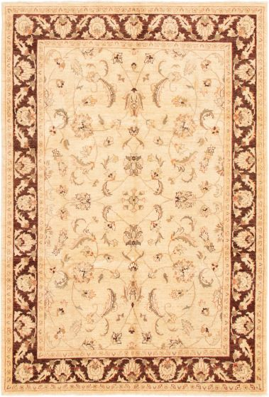 Bordered  Traditional Ivory Area rug 5x8 Afghan Hand-knotted 293001