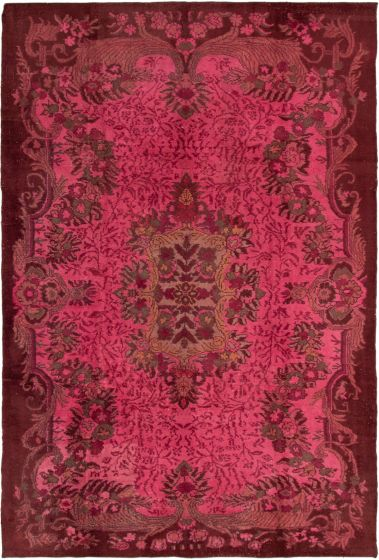 Bordered  Transitional Pink Area rug 6x9 Turkish Hand-knotted 293774