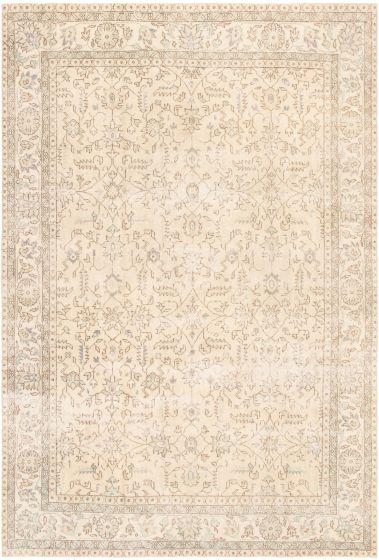 Bordered  Vintage Ivory Area rug 6x9 Turkish Hand-knotted 295880