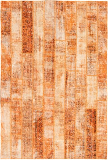 Casual  Transitional Orange Area rug 6x9 Turkish Hand-knotted 295929