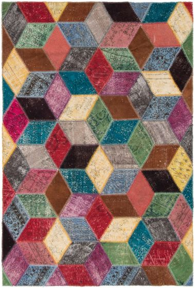 Casual  Transitional Multi Area rug 6x9 Turkish Hand-knotted 297961