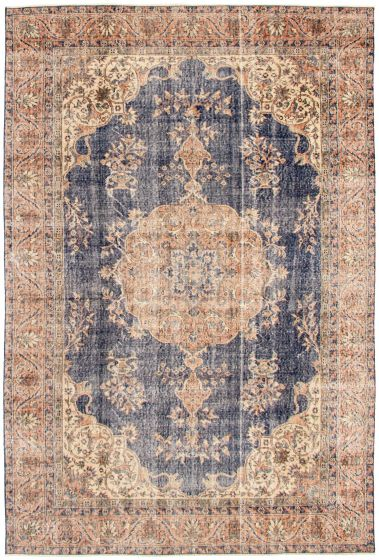 Bordered  Traditional Blue Area rug 6x9 Turkish Hand-knotted 328507