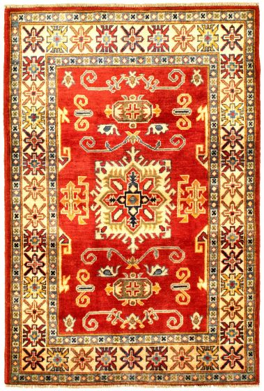 Bordered  Traditional Red Area rug 3x5 Afghan Hand-knotted 329865