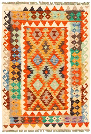 Flat-weaves & Kilims  Geometric Ivory Area rug 3x5 Turkish Flat-weave 330174