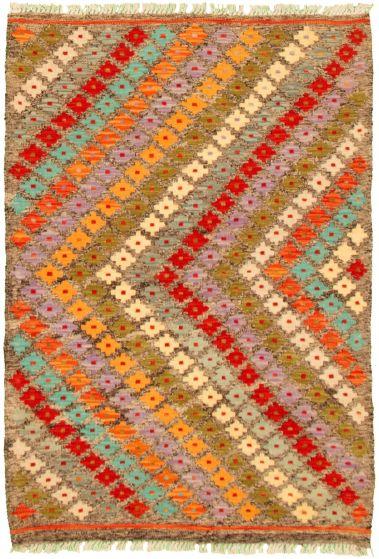 Flat-weaves & Kilims  Geometric Grey Area rug 3x5 Turkish Flat-weave 330235