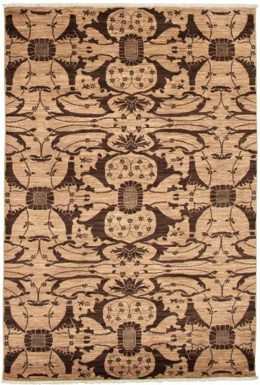 Casual  Transitional Brown Area rug 5x8 Pakistani Hand-knotted 339022
