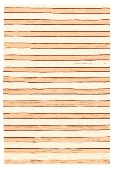 Bohemian  Stripes Ivory Area rug 5x8 Turkish Flat-weave 346180