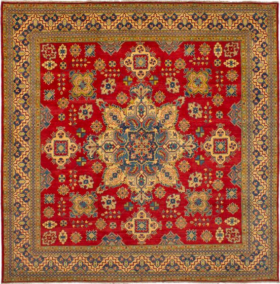 Bordered  Traditional Red Area rug Square Afghan Hand-knotted 272527