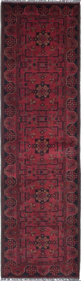 Traditional Red Runner rug 10-ft-runner Afghan Hand-knotted 222160