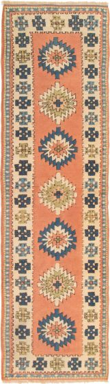 Bordered  Traditional Brown Runner rug 10-ft-runner Turkish Hand-knotted 293815
