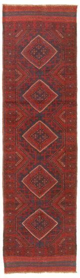 Bordered  Tribal Red Runner rug 8-ft-runner Afghan Hand-knotted 342439